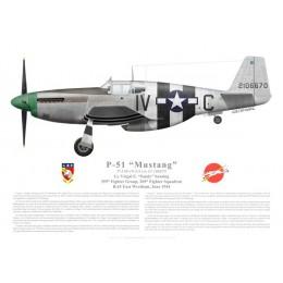 "P-51B Mustang, Virgal ""Sandy"" Sansing, 359th FG, 369th FS, USAAF, June 1944"
