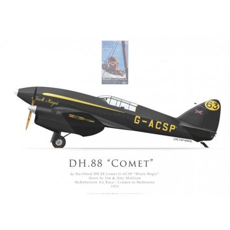 """DH.88 Comet """"Black Magic"""", G-ACSP, Jim & Amy Mollison, course McRobertson, 1934"""
