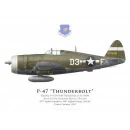 P-47D Thunderbolt, 1Lt. Marvin Rosvold, 397th Fighter Squadron, 368th Fighter Group, France, 1944