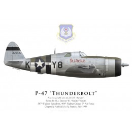 "P-47D Thunderbolt ""Birdie"", 1Lt Denver Smith, 507th FS, 404th FG, France, July 1944"