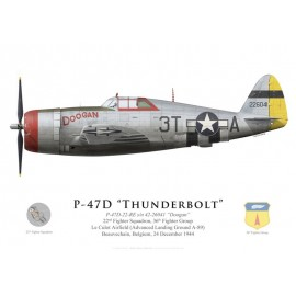 "P-47D Thunderbolt ""Doogan"", 22nd FS, 36th FG, Belgique, décembre 1944"