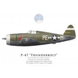 """P-47D Thunderbolt """"Pattie II"""", Lt Lawrence McCarthy, 328th FS, 352nd FG, RAF Bodney"""
