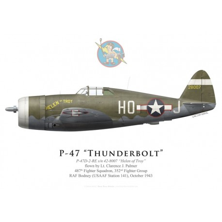 "P-47D Thunderbolt ""Helen of Troy"", Lt. Clarence Palmer, 487th FS, 352nd FG, octobre 1943"