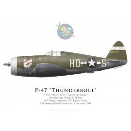 "P-47D Thunderbolt ""Queen City Mama"", Capt. Donald Dilling, 487th FS, 352nd FG, RAF Bodney, December 1943"