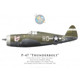 "P-47D Thunderbolt ""Queen City Mama"", Capt. Donald Dilling, 487th FS, 352nd FG, RAF Bodney, décembre 1943"