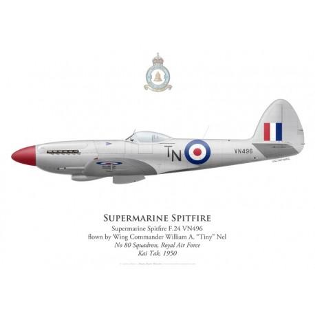 "Supermarine Spitfire F.24, W/C William ""Tiny"" Nel, No 80 Squadron, Royal Air Force, Kai Tak, 1950"