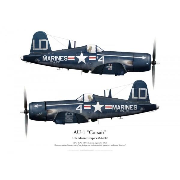 Corsair Print AU-1 MCAS Brown Field F4U par P. Mehard US Marines Corps