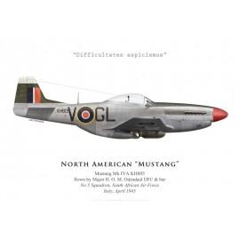 Mustang Mk IVA, Maj. H. O. M. Odendaal DFC & bar, No 5 Squadron SAAF, Italie, 1945