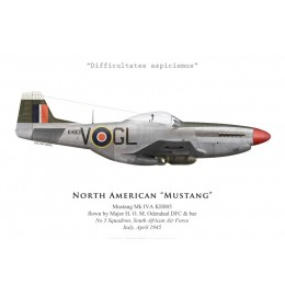 North American Mustang Mk IVA, Maj. H. O. M. Odendaal DFC & bar, No 5 Squadron SAAF, Italie, 1945