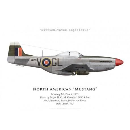 North American Mustang Mk IVA, Maj. H. O. M. Odendaal DFC & bar, No 5 Squadron SAAF, Italie, 1945