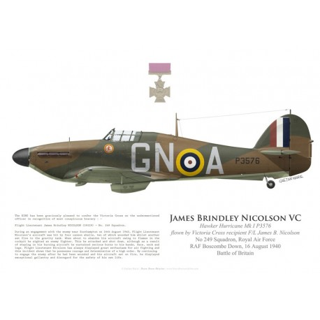 Hawker Hurricane Mk I P3576, F/L James Nicolson VC, No 249 Squadron, Royal Air Force, 16 août 1940