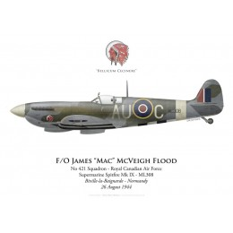 Supermarine Spitfire Mk IX, F/O James Flood, No 421 Squadron, Royal Canadian Air Force, Normandie, 26 août 1944