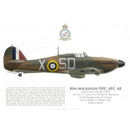 Hawker Hurricane Mk I, P/O Ken Mackenzie DFC, No 501 Squadron, Royal Air Force, 7 October 1940