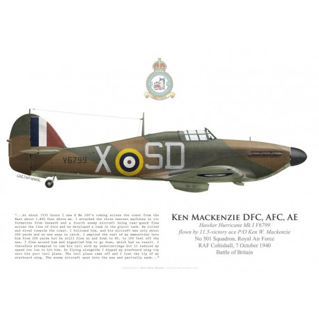 Hawker Hurricane Mk I V6799, P/O Ken Mackenzie DFC, No 501 Squadron, Royal Air Force, 7 October 1940