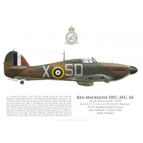 Hawker Hurricane Mk I V6799, P/O Ken Mackenzie DFC, No 501 Squadron, Royal Air Force, 7 octobre 1940