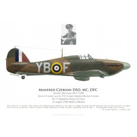 Hawker Hurricane Mk I, F/O Manfred Czernin DSO, MC, DFC, No 17 Squadron, Royal Air Force, 25 août 1940