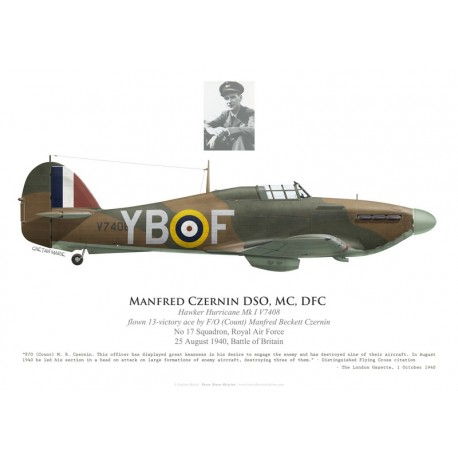 Hawker Hurricane Mk I V7408, F/O Manfred Czernin DSO, MC, DFC, No 17 Squadron, Royal Air Force, 25 August 1940