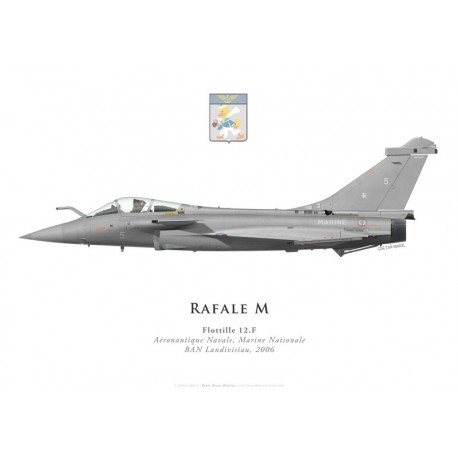 Print of the Dassault Rafale M5, Flottille 12.F, French Naval Aviation, Landivisiau naval airbase, 2006