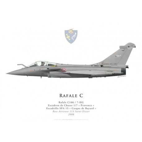 """Print du Dassault Rafale C106, EC 1/7 """"Provence"""", SPA 15 """"Casque de Bayard"""", BA 113 Saint-Dizier, 2008"""