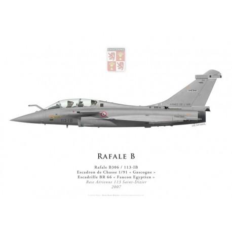 """Print du Dassault Rafale B306, EC 1/91 """"Gascogne"""", BR 66 """"Faucon Egyptien"""", BA 113 Saint-Dizier, 2007"""