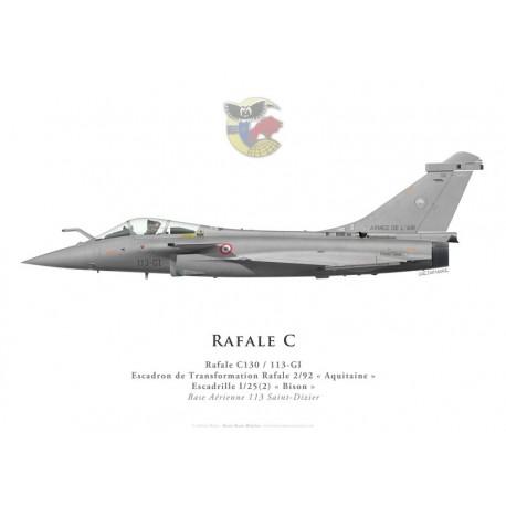 """Print du Dassault Rafale C130, ETR 2/92 """"Aquitaine"""", Escadrille I/25(2) « Bison », BA 113 Saint-Dizier"""