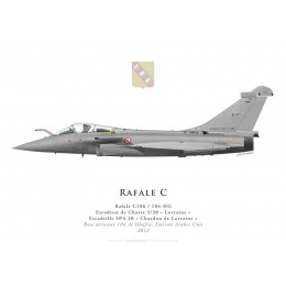 "Print of the Dassault Rafale C No 106, EC 3/30 ""Lorraine"", French air force, Al Dhafra airbase, UAE, 2012"