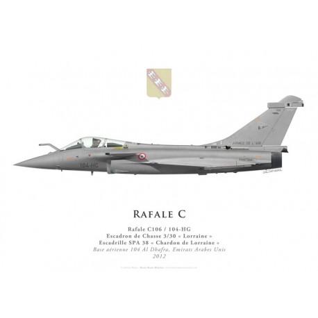 "Print of the Dassault Rafale C No 106, EC 3/30 ""Lorraine"", French air force, Al Dhafra airbase, UAE, 2012"