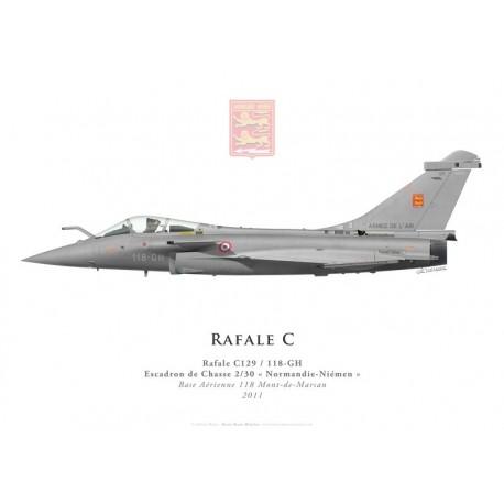 """Print du Dassault Rafale C129, EC 2/30 """"Normandie-Niémen"""", BA 118 Mont-de-Marsan, 2011"""