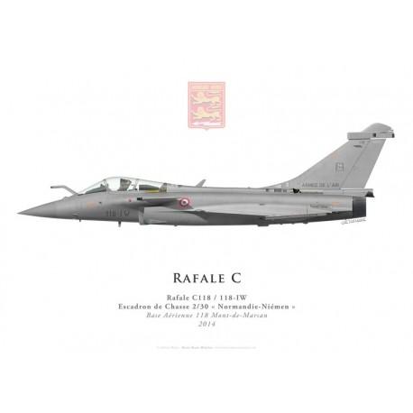 """Print du Dassault Rafale C118, EC 2/30 """"Normandie-Niémen"""", BA 118 Mont-de-Marsan, 2014"""