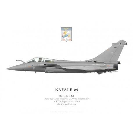 Print of the Dassault Rafale M No 11, Flottille 12.F, French naval aviation, NATO Tiger Meet 2008