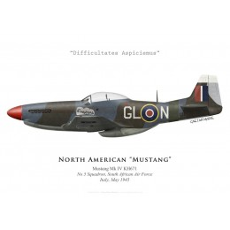 "Print of the North American Mustang Mk IV ""Sweetpea"", No 5 Squadron SAAF, Italy, 1945"