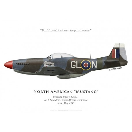 """Print of the North American Mustang Mk IV """"Sweetpea"""", No 5 Squadron SAAF, Italy, 1945"""