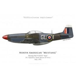 "North American Mustang Mk IV ""Impi"", No 5 Squadron SAAF, Italie, 1945"