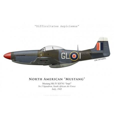 "North American Mustang Mk IV ""Impi"", No 5 Squadron SAAF, Italie, 1945"
