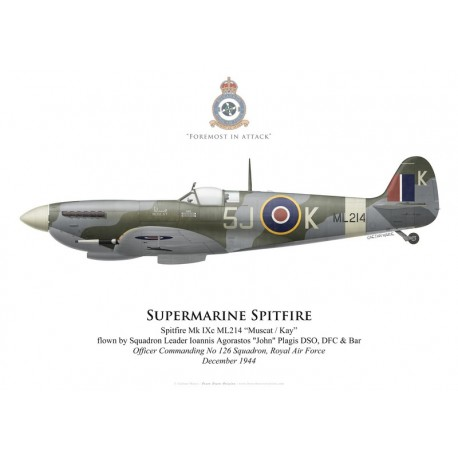 Supermarine Spitfire Mk IXc ML214, S/L John Plagis, OC No 126 Squadron, Royal Air Force, décembre 1944