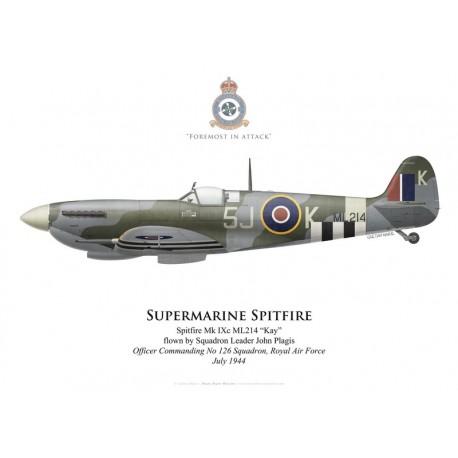 Spitfire Mk IXc, S/L John Plagis, OC No 126 Squadron, Royal Air Force, juillet 1944