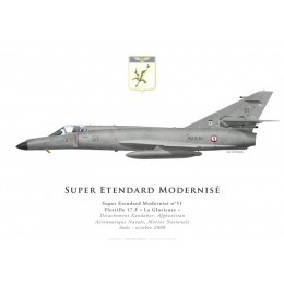 Print of the Dassault Super Etendard Modernisé No 51, Flottille 17.F, French Navy, Det Kandahar, Afghanistan, 2008