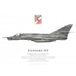 Print of the Dassault Etendard IVPM No 115, CC Clary, Flottille 16.F, Bosnia, 15 April 1994