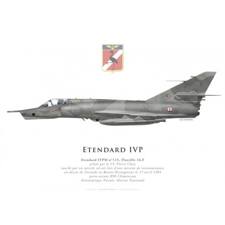 Print of the Dassault Etendard IVPM No 115, CC Clary, Flottille 16.F, Bosnia, 15 April 1994