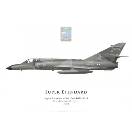 Print of the Dassault Super Etendard No 16, Escadrille 59.S, Hyères naval airbase, French Navy, 1993