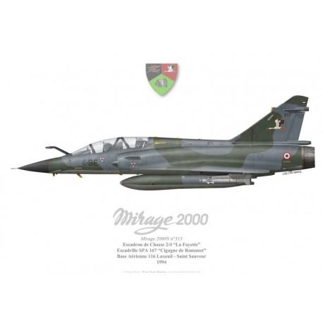 """Print du Dassault Mirage 2000N n°313, EC 2/4 """"La Fayette"""", SPA 167""""Cigogne de Romanet"""", BA 116 Luxeuil-Saint-Sauveur, 1994"""