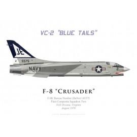 "F-8K Crusader, VC-2 ""Blue Tails"", NAS Oceana, 1970"