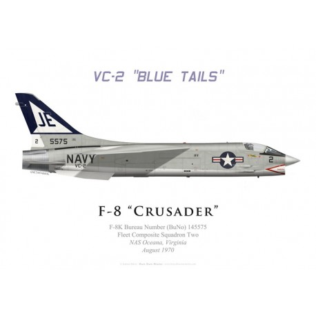 "Print of the Vought F-8K Crusader, VC-2 ""Blue Tails"", NAS Oceana, 1970"
