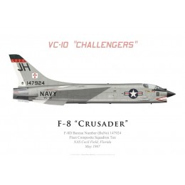 "Print of the Vought F-8D Crusader, VC-10 ""Challengers"", NAS Cecil Field, 1967"