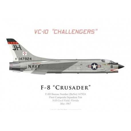 """Print of the Vought F-8D Crusader, VC-10 """"Challengers"""", NAS Cecil Field, 1967"""