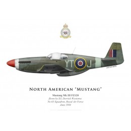 Print of the North American Mustang Mk III FZ120, S/L Derrick Westenra, No 65 Squadron, Royal Air Force, June 1944