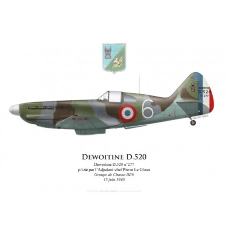 Dewoitine D.520 n°277, ADC Pierre Le Gloan, Groupe de Chasse III/6, 15 juin 1940
