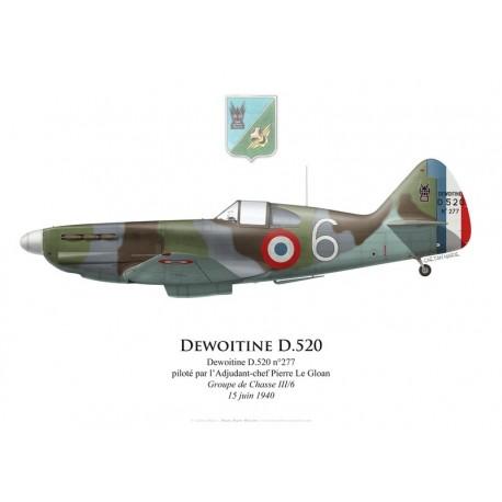 Dewoitine D.520 n°277, ADC Pierre Le Gloan, Groupe de Chasse III/6, 15 juin 1940