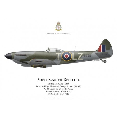 Supermarine Spitfire Mk XVIe, F/L George Roberts (RAAF), No 66 Squadron, Royal Air Force, April 1945