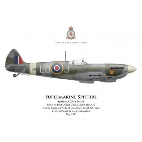 Supermarine Spitfire Mk XVI, P/O Cecil Zuber (RAAF), No 602 Squadron, Royal Air Force, Coltishall, Royaume-Uni, mai 194